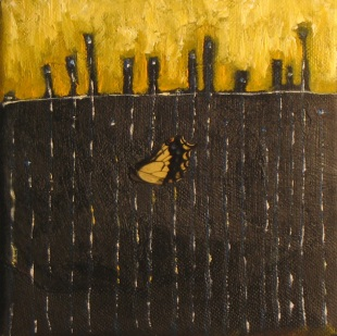 "Sold: Bright Lights, Big City & a Bug, Mixed Media, 6"" x 6"", 2008"