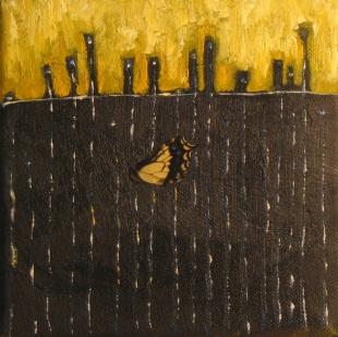 """Sold: Bright Lights, Big City & a Bug, Mixed Media, 6"""" x 6"""", 2008"""