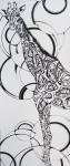 """Giraffe, 12 x 24"""" ink on paper"""
