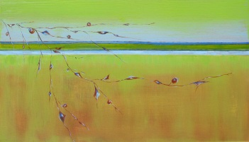 "Sold: Growing Good Karma, Acrylic on Canvas, 14"" x 24"", 2008"