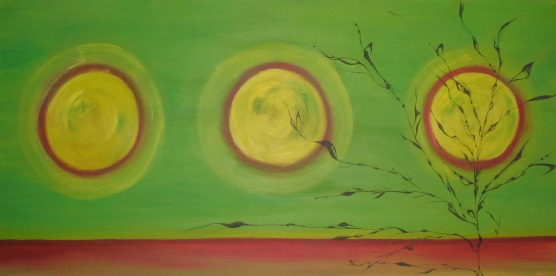 Sold: It Grows Toward the Light, Oil & Ink on Canvas, 5' x 2.5', 2008