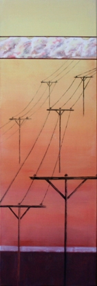 "Sold: Power Lines, Acrylic on Canvas, 16 x 48"", 2010"