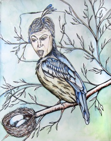 """Birder, 8 x 10"""" ink adn watercolor on paper"""
