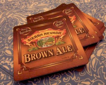 Paper/Cardboard-like coasters from Sierra Nevada were used to paint on