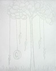 "Hanging in the Boughs, 11 x 14"" paper with pinholes"