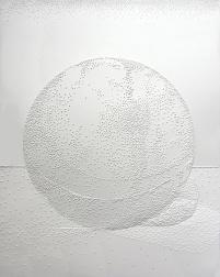 """Sphere, 8 x 10"""", pierced paper"""