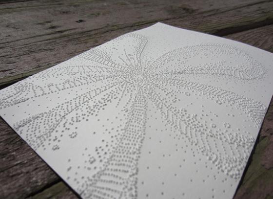 "Day 326, 5 x 7"" pierced paper"