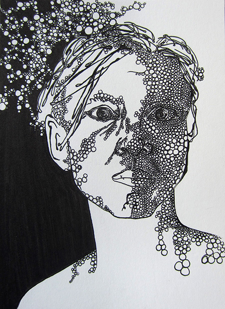"Day 327, 5 x 7"" ink on paper"