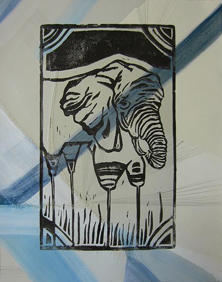 Day 369 blue pierced paper Elephant Print