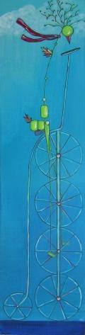 "Sold: Bird on Bike, 6.25 x 24.5"" Acrylic and ink on wood, 2013"