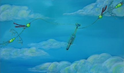 "Sold: Birds Flying Bike, 18 x 30"" acrylic on canvas, 2013"