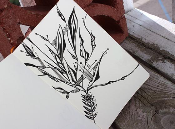 Ink on paper sketchbook page