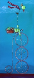 "Bird on Bike: Farmer's Market, 22 x 10"" Acrylic and ink on canvas, 2013"