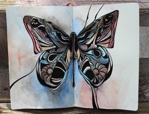 Ink and watercolor in sketchbook