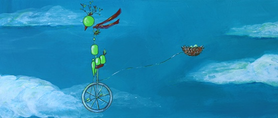 "Bird on Bike: Mobile Home, 10.25 x 24.5"" Acrylic and ink on board, 2013"
