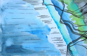 The Water Comes, ~3 x 5 Watercolor and ink on Paper