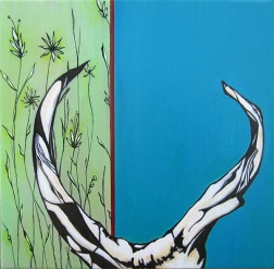 "Donated: We Call Him Antelope, 10 x 10"" Acrylic and ink on canvas, 2013"