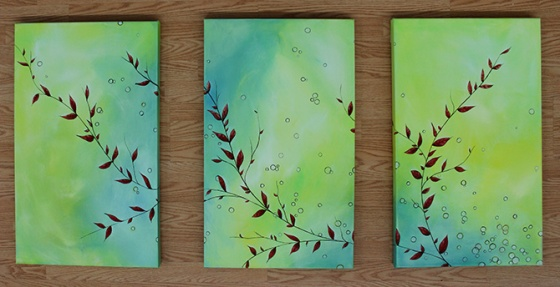 "Three 18 x 42"" acrylic on canvas panels"