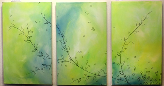 "Work in Progress: Three, 18 x 42"" Acrylic on canvas"
