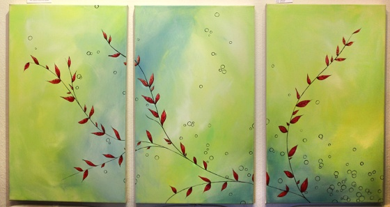 "Work in Progress: Three 18 x 42"" acrylic on canvas"