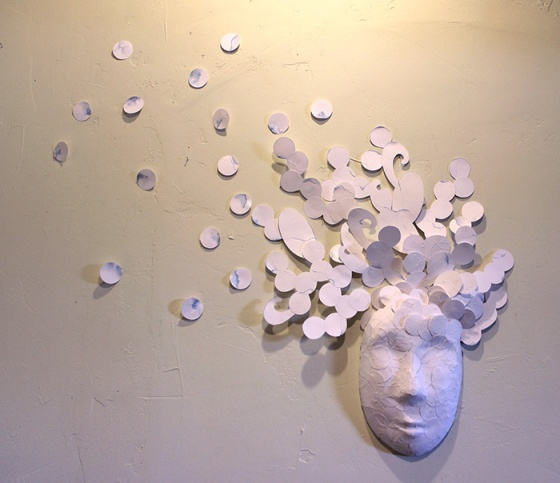 ~2.5' x 3' Pierced paper circles on ceramic mask