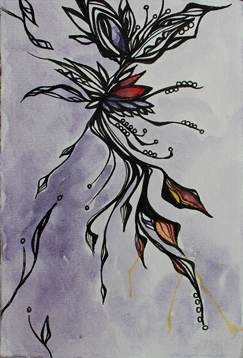3.25 x 5.25 Ink and watercolor on paper