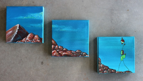 "Three 8 x 8"" panels: Acrylic and ink on canvas"